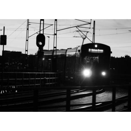 Fotokonst på spårvagn till Lidingö. Fin svartvit fotografisk konst.