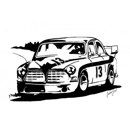 Print, Comfort Racing Amazonen. Svartvit tavla med vintage motiv