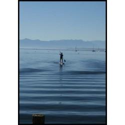 Fotokonst, blå himmel och hav med ram. Tavla med fina nyanser i blått - Spoca