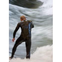Poster med våghalsig surfare. Tavla med naturmotiv.