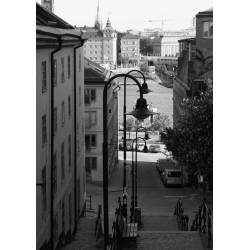 Svartvit tavla med fotografi från Stockholm. Längtan till storstaden - Spoca.
