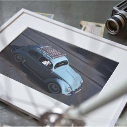 Fotokonst, ljusblå bil, cool poster till vardagsrummet