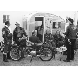 Poster med coola rockers i svartvitt fotografi. Fototavla