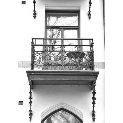 Balkong i gammal stil posters. Svartvit Stockholms poster
