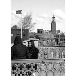 Svartvit tavla med Vy över Stockholm. Foto, Stockholmsmotiv
