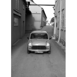 Bilen vid varvet Poster. Svartvit tavla med retro/vintage motiv