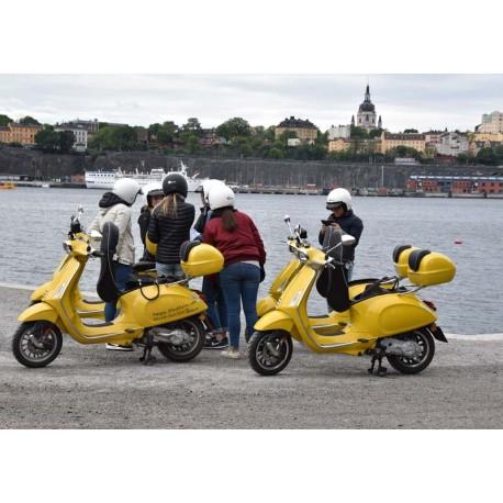 Kvinnor vid gula Vespor. Den vackra ön Skeppsholmen i Stockholm