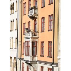 Vackra huset i staden Poster. Motiv av staden som fotokonst