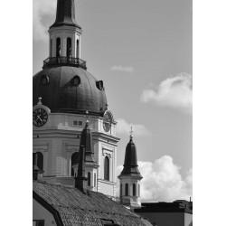 Church tower Poster. Svartvitt foto av kyrka i Stockholm