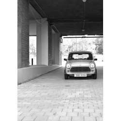 Retro car in industrial area poster. Svartvit fotokonst - tavlor online - Spoca